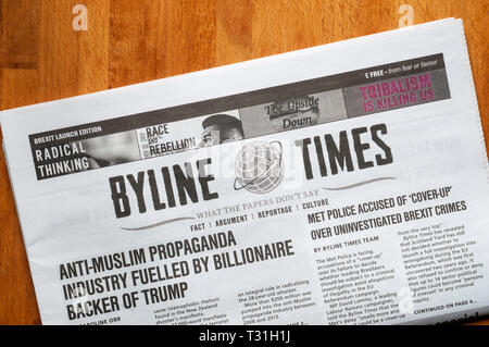The launch edition of Byline Times, a spinoff print newspaper from the crowd funded news site byline.com. - Stock Image