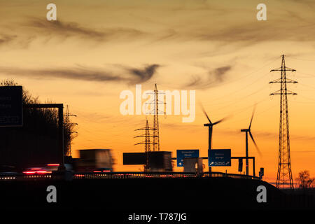 Autobahn A46 in the dawn at rush hour - Stock Image