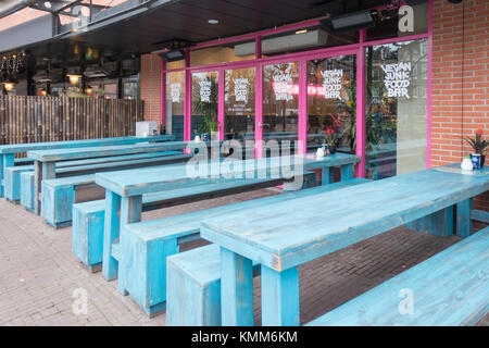 Exterior of Vegan Junk Food Bar on Marie Heineken Plein in Amsterdam, the Netherlands - Stock Image