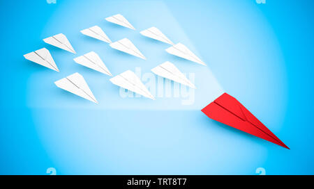 Concept of leadership with paper aircraft: the red plane flies faster than its competitors. 3D rendering - Stock Image