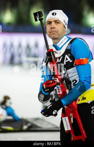 Gelsenkirchen, Germany. 29 December 2018. Biathlon-Legend Ole Einar Bjorndalen (NOR) ends his Biathlon career with a start at the JOKA Biathlon World Team Challenge 2018 auf Schalke. Photo: Vibrant Pictures/Alamy Live News - Stock Image