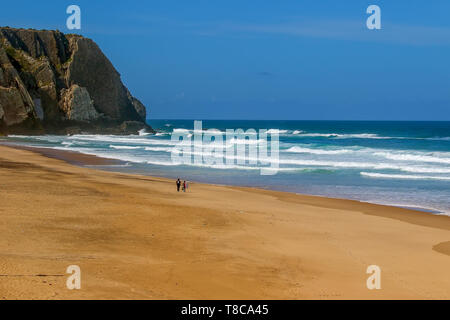 Surfers on theUrsa beach, Portugal - westernmost point of mainland Europe - Stock Image