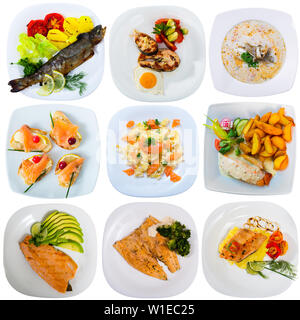 Set of various plates of fish food isolated on white background - Stock Image