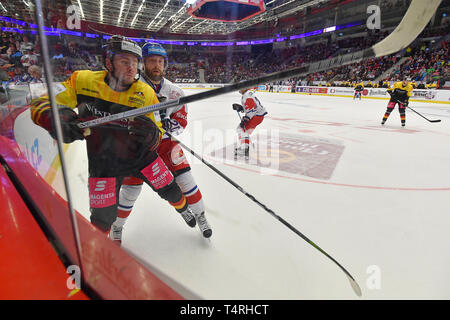 Karlovy Vary, Czech Republic. 18th Apr, 2019. Parker Stephen Tuomie of Germany, left, and Hynek Zohorna in action during the Euro Hockey Challenge match Czech Republic vs Germany in Karlovy Vary, Czech Republic, April 18, 2019. Credit: Slavomir Kubes/CTK Photo/Alamy Live News - Stock Image
