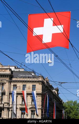 Switzerland Zurich credit suisse Bahnhofstrasse Paradeplatz - Stock Image