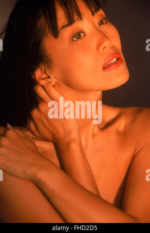 Portrait of Asian woman with beautiful skin - Stock Image