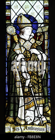 Stained glass window depicting Saint Ambrose, St Peter's Church, Deene, Northamptonshire - Stock Image
