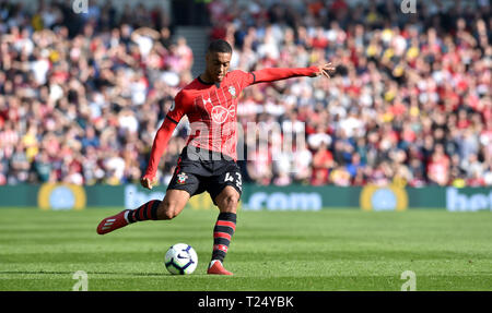 Yan Valery of Southampton during the Premier League match between Brighton & Hove Albion and Southampton at The American Express Community Stadium . 30 March 2019 Editorial use only. No merchandising. For Football images FA and Premier League restrictions apply inc. no internet/mobile usage without FAPL license - for details contact Football Dataco - Stock Image