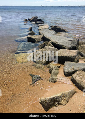 stones on the beach in Cape Cod - Stock Image