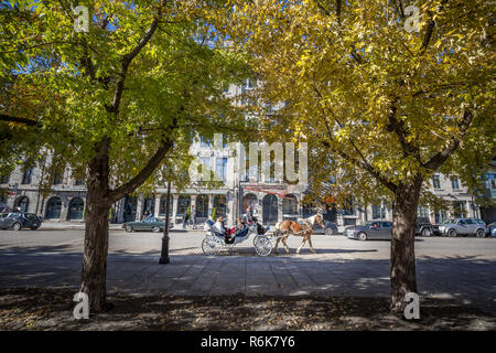 MONTREAL, CANADA - NOVEMBER 4, 2018: Horse Drawn Cart Buggy carrying tourists passing by Rue de la Commune street in Old Montreal seafront, or Vieux M - Stock Image