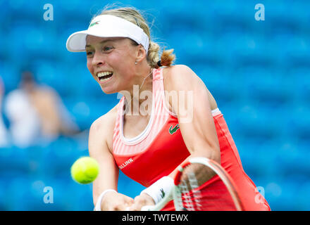 Eastbourne UK 23rd June 2019 - Anett Kontaveit of Estonia in action against Harriet Dart of Great Britain during their first round match at the Nature Valley International tennis tournament held at Devonshire Park in Eastbourne . Credit : Simon Dack / TPI / Alamy Live News - Stock Image