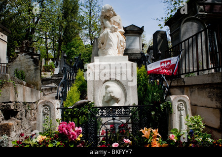 Frederic Chopin Memorial Sculpture on Tomb in Pere Lachaise Cemetery, Paris France - Stock Image