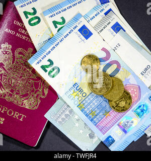 London, United Kingdom, June 20, 2019: The Euro dropped against the Dollar and Other Currencies With The European Central Banks Concern Over Rising In - Stock Image