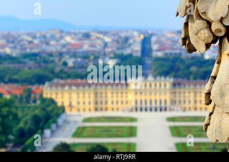 View of Schonbrunn Palace from Gloriette, Vienna, Austria - Stock Image