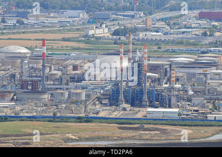 Israel, Haifa bay, the flues and chimneys of the Petrochemical factory - Stock Image