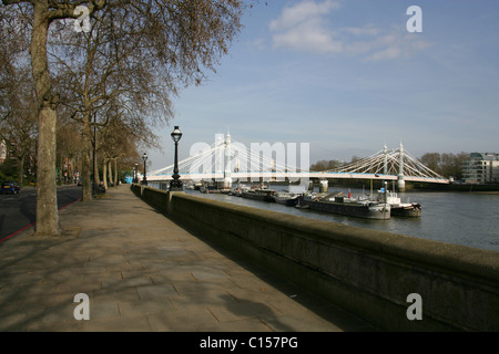 Albert Bridge, River Thames, Chelsea, London, UK. View from Chelsea Embankment with Battersea Power Station in the - Stock Image