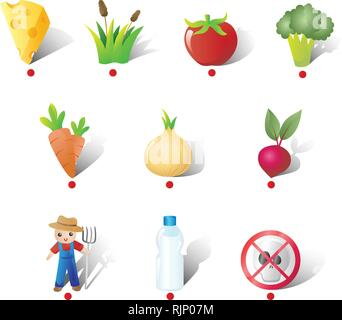 A vector illustration of Farm and Vegetables Icons - Stock Image