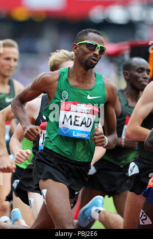 Hassan MEAD (United States of America) competing in the Men's 5000m Final at the 2018, IAAF Diamond League, Anniversary Games, Queen Elizabeth Olympic Park, Stratford, London, UK. - Stock Image