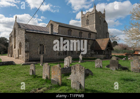 Bures Church Suffolk UK, view of the north side of St Mary's Church in the village of Bures on the Essex Suffolk border, England, UK. - Stock Image