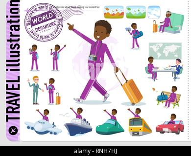 A set of school boy in sportswear on travel.There are also vehicles such as boats and airplanes.It's vector art so it's easy to edit. - Stock Image