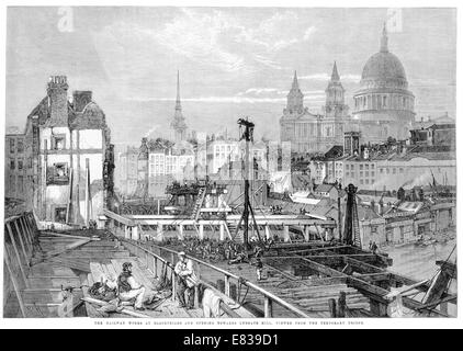 Railway works Blackfriars Opening towards Ludgate Hill 1864 - Stock Image