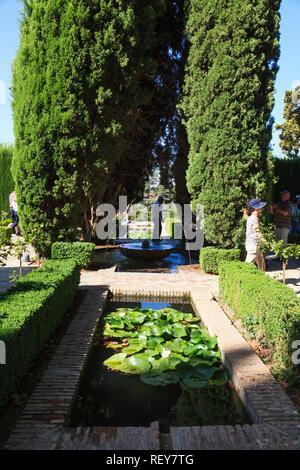 Patio de la Acequia, The Palacio de Generalife, La Alhambra, Granada Spain - Stock Image