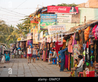 Hampi market and restaurants India - Stock Image