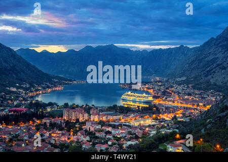 Bay of Kotor at dusk, Montenegro - Stock Image