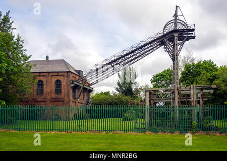 External view of the 'F pit' museum of coal mining in Washington Tyne and Wear England - Stock Image