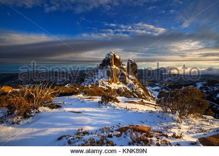 The Cathedral at Sunrise in Winter, Mount Buffalo National Park, Victoria, Australia - Stock Image