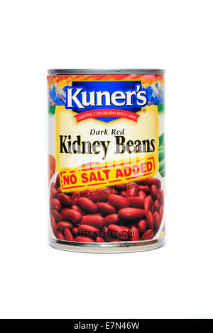 A can of Kuner's Kidney Beans isolated over a white background - Stock Image