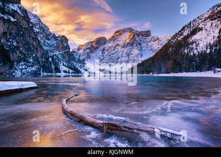 winter sunrise over Lago di Braies, Dolomites, Italy - Stock Image