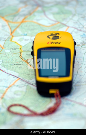 PICTURE CREDIT DOUG BLANE GPS on a map - Stock Image