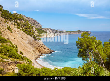 Scenic mountainous landscape with Coll Baix beach on Mallorca, Spain. - Stock Image