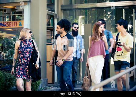 College students walking together - Stock Image