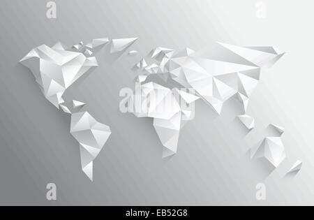 Angular white world map on grey - Stock Image