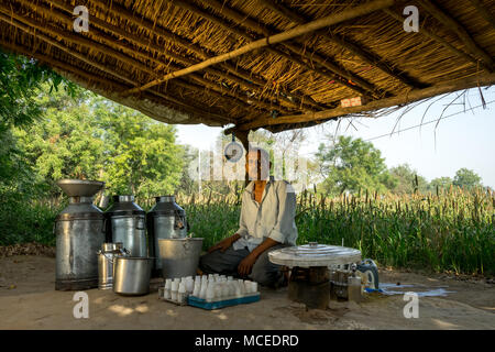 Place: Ahmedabad, Gujarat, India. Date: April-15-2018. Photo of milk vendor performing fat testing in milk and purchasing as per the standard. - Stock Image