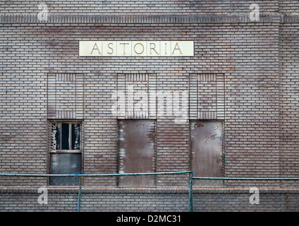 side of old Astoria train station - Stock Image