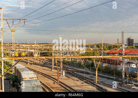 Pretoria railway station, the departing point for trains that travel all over Southern Africa. - Stock Image