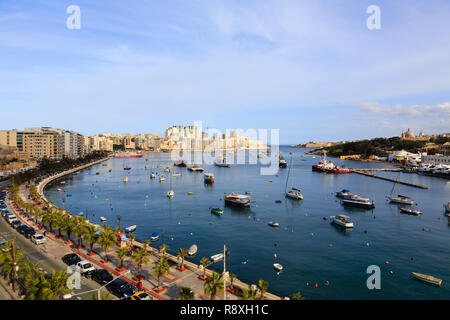Boats moored in Sliema Creek, Valletta, Malta - Stock Image