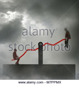 Two businessmen at opposite ends of seesaw graph - Stock Image