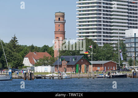 old lighthouse and Maritim Hotel, Travemuende, Schleswig-Holstein, Germany - Stock Image