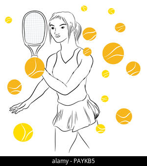 Tennis player and tennis balls.  illustration of tennis girl with a lot of falling tennis ball. Tennis girl wearing tennis apparel. - Stock Image