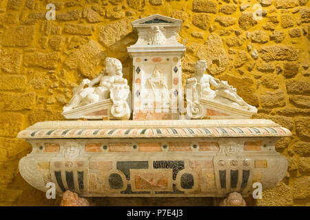 Italy Sicily Agrigento old town Cathedral Duomo Cattedrale Museo Diocesano Church religion Christian Catholic built 12th century sarcophagus marble - Stock Image