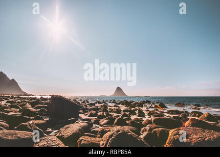 Norway beach sea landscape seaside view summer travel vacations Bleiksoya rock in ocean nature scenery Vesteralen islands - Stock Image