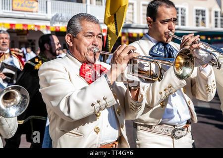Mariachi trumpet players, Solemn Procession, Fiesta de Santa Fe, Santa Fe, New Mexico USA - Stock Image