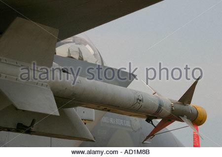 Zeltweg 2005 AirPower 05 airshow Austria Eagle F15 USAAF Sidewinder AA missile - Stock Image