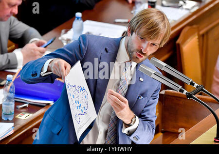 Prague, Czech Republic. 26th June, 2019. Czech Health Minister Adam Vojtech attends the Chamber of Deputies meeting to hold no-confidence vote in Babis's government, triggered by five opposition parties, in Prague, Czech Republic, on June 26, 2019. Credit: Vit Simanek/CTK Photo/Alamy Live News - Stock Image
