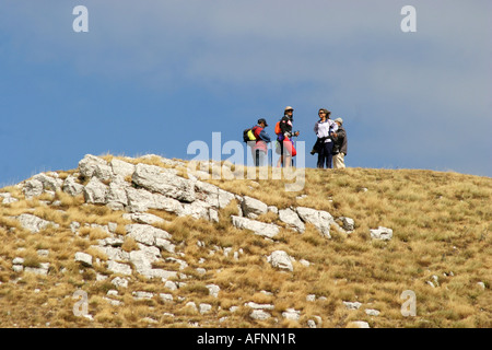 hikers enjoy atGlorious colour Sasso Tetto  mountain in the Sibillini National Park,Le Marche Italy - Stock Image