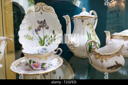 Spode bone china in the Museum of Glass and crystal, Malaga Andalusia Spain - Stock Image